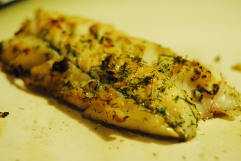 "Dill, Garlic, and ""Lemon"" flavored cod fillets. Delicious! (low-amine, gluten-free, soy-free, dairy-free, nut-free, paleo)"