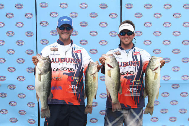 Auburn University fishermen Cole Burdeshaw (right) of Headland and Mitchell Jennings of Lanett teamed to win the BoatUS Collegiate Bass Fishing Championship on May 27. It was the Auburn bass fishing team's first national title.