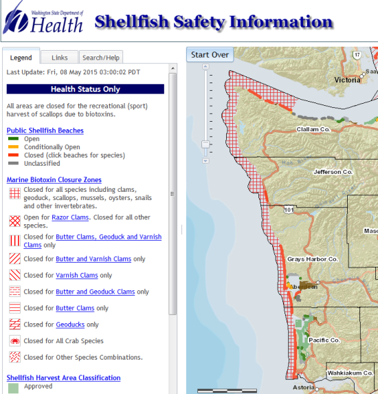 A WASHINGTON DEPARTMENT OF HEALTH MAP SHOWS COASTAL AREAS WHERE SHELLFISHING HAS BEEN CLOSED DUE TO MARINE TOXINS. (DOH)